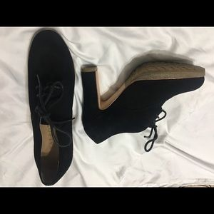 Black suede booties Size 5 1/2